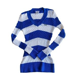 Lacoste blue and white striped knit sweater size 7